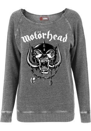 Ladies Motörhead Logo Burnout Open Edge Crewneck