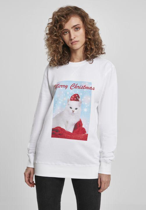 Ladies Merry Christmas Cat Crewneck