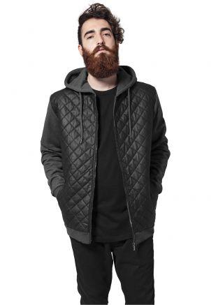 Diamond Half Leather Imitation Zip Hoody