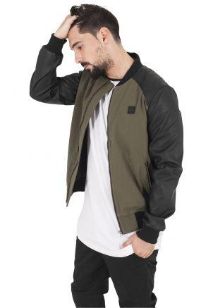 Cotton Bomber Leather Imitation Sleeve Jacket