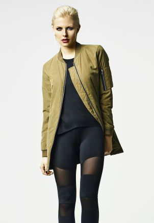 Ladies Peached Long Bomber Jacket