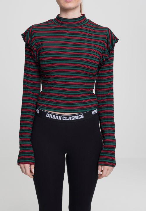 Ladies Rib Striped Volant Turtleneck L/S