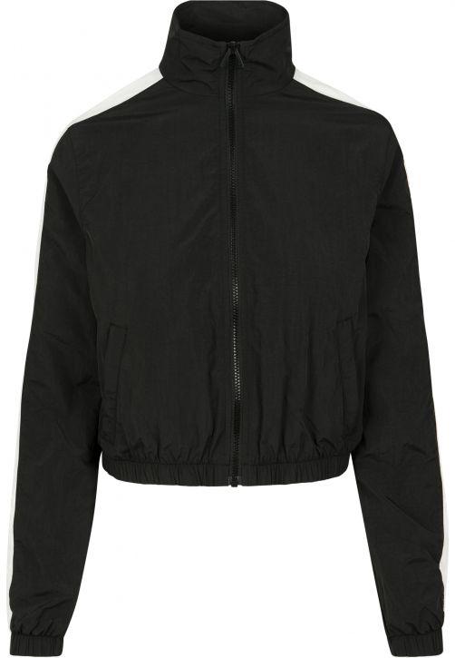 Ladies Short Striped Crinkle Track Jacket