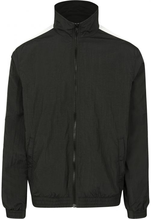 Striped Sleeve Crinkle Track Jacket