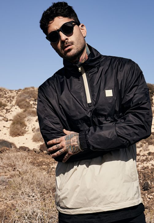 Stand Up Collar Pull Over Jacket