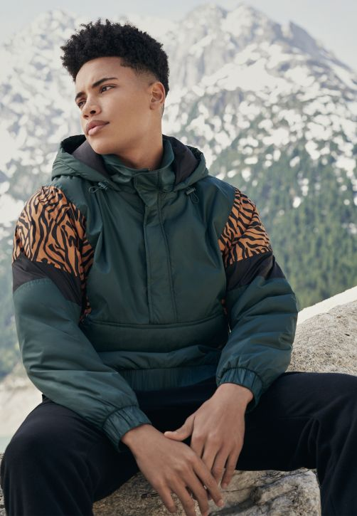 Animal Mixed Pull Over Jacket