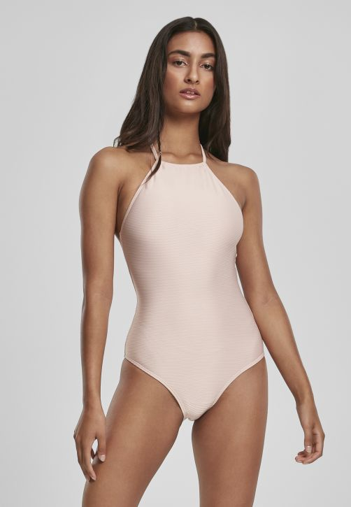 Ladies Rib Neckholder Swimsuit