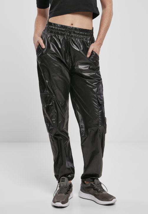 Ladies Shiny Cargo Track Pants