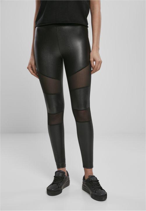 Ladies Tech Mesh Faux Leather Leggings