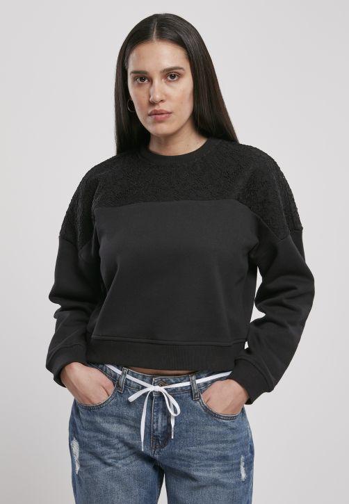 Ladies Short Oversized Lace Inset Crew