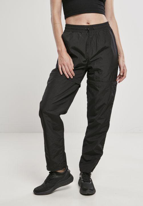 Ladies Shiny Crinkle Nylon Zip Pants