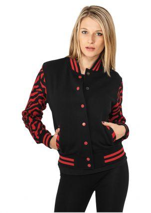 Ladies Zebra 2-tone College Sweatjacket