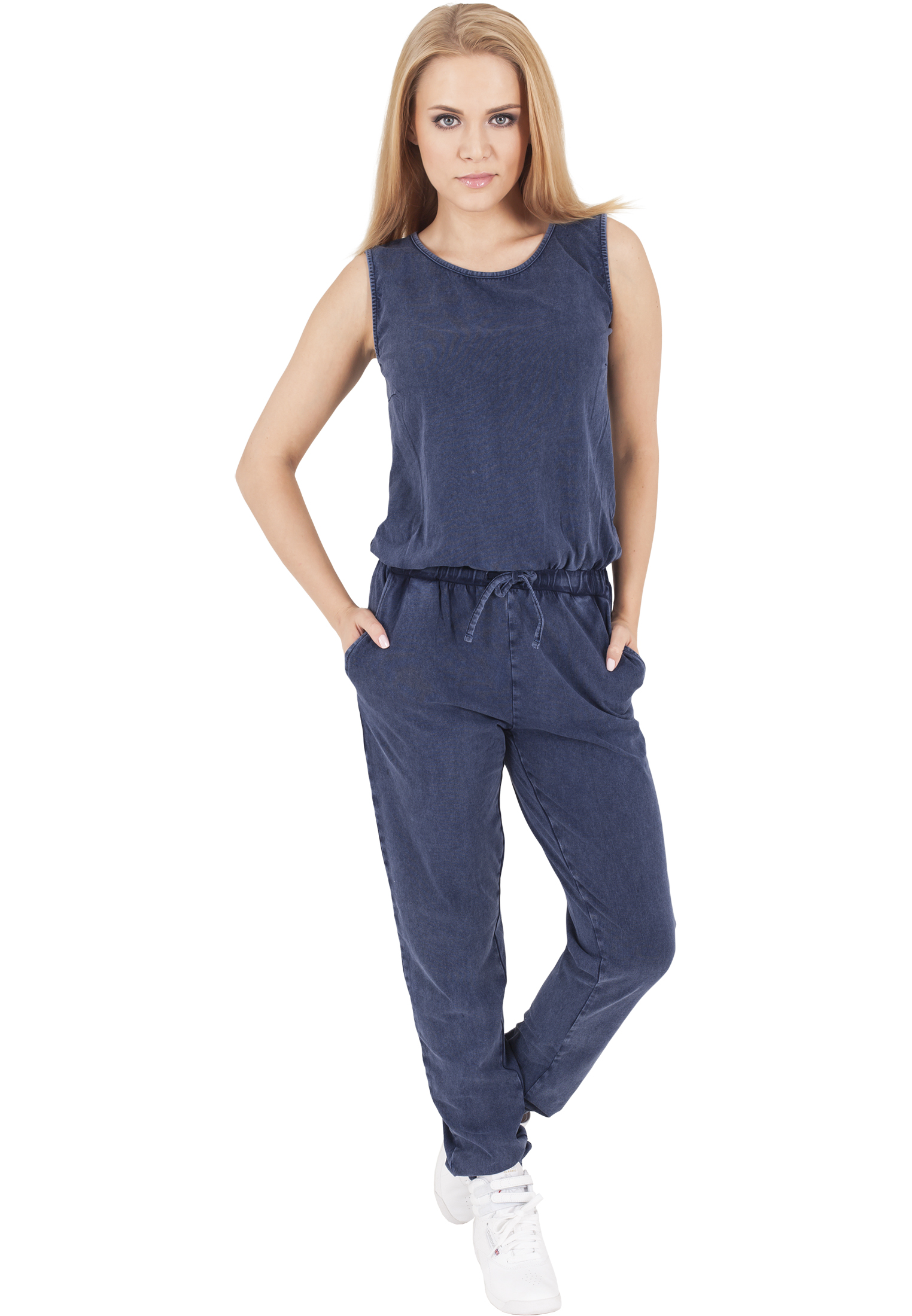 67ec69b6fb8e Ladies Denim Jersey Sleeveless Jumpsuit-TB1057