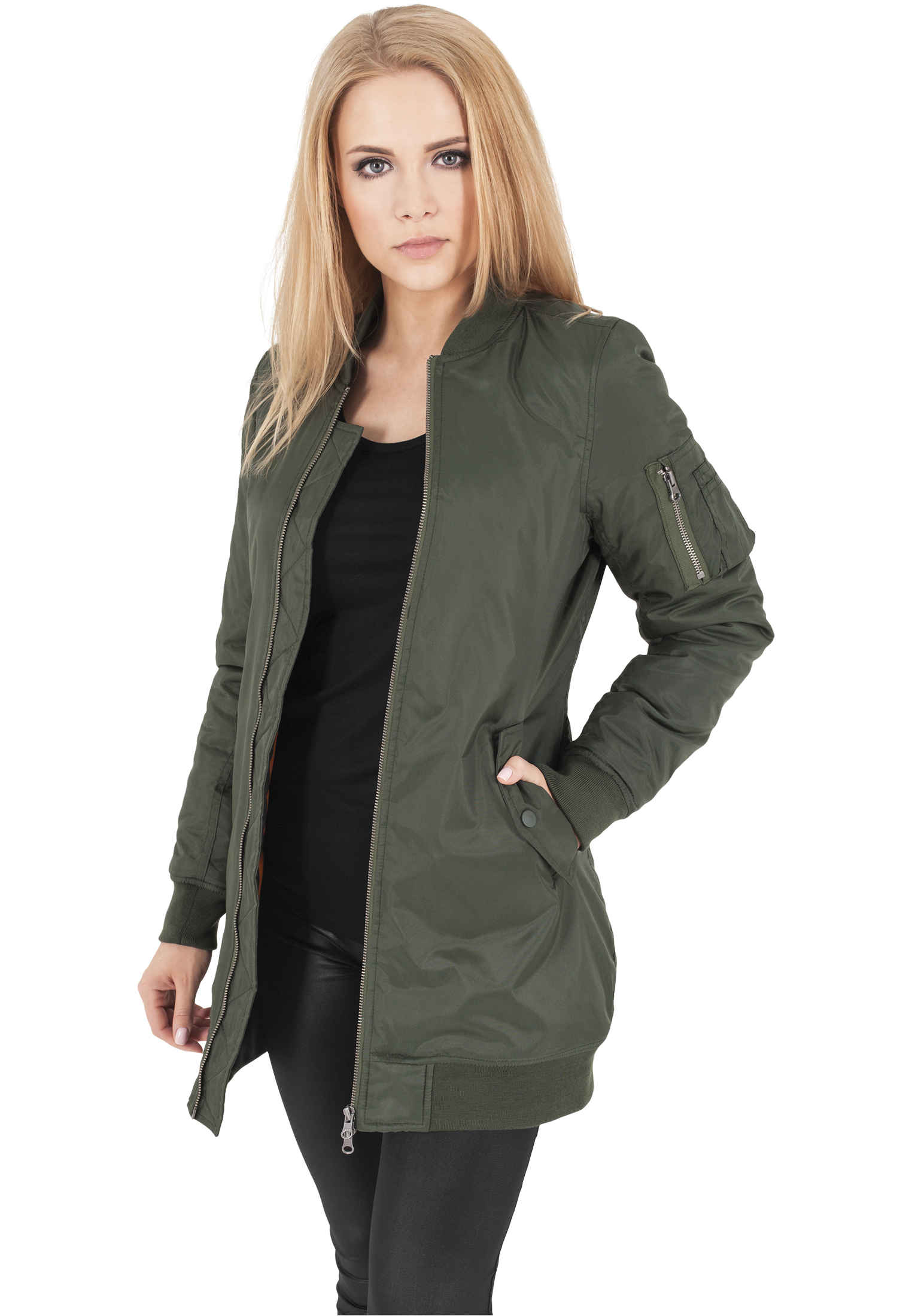 Long Bomber Jacket Features: Long Sleeve, Full-zip front closure, Ribbed American Bazi G-Style USA Women's Destroyed Denim Jacket. by American Bazi. $ - $ $ 39 $ 45 out of 5 stars Product Features Layer up in style with this Destroyed Long Denim Bomber Jacket.