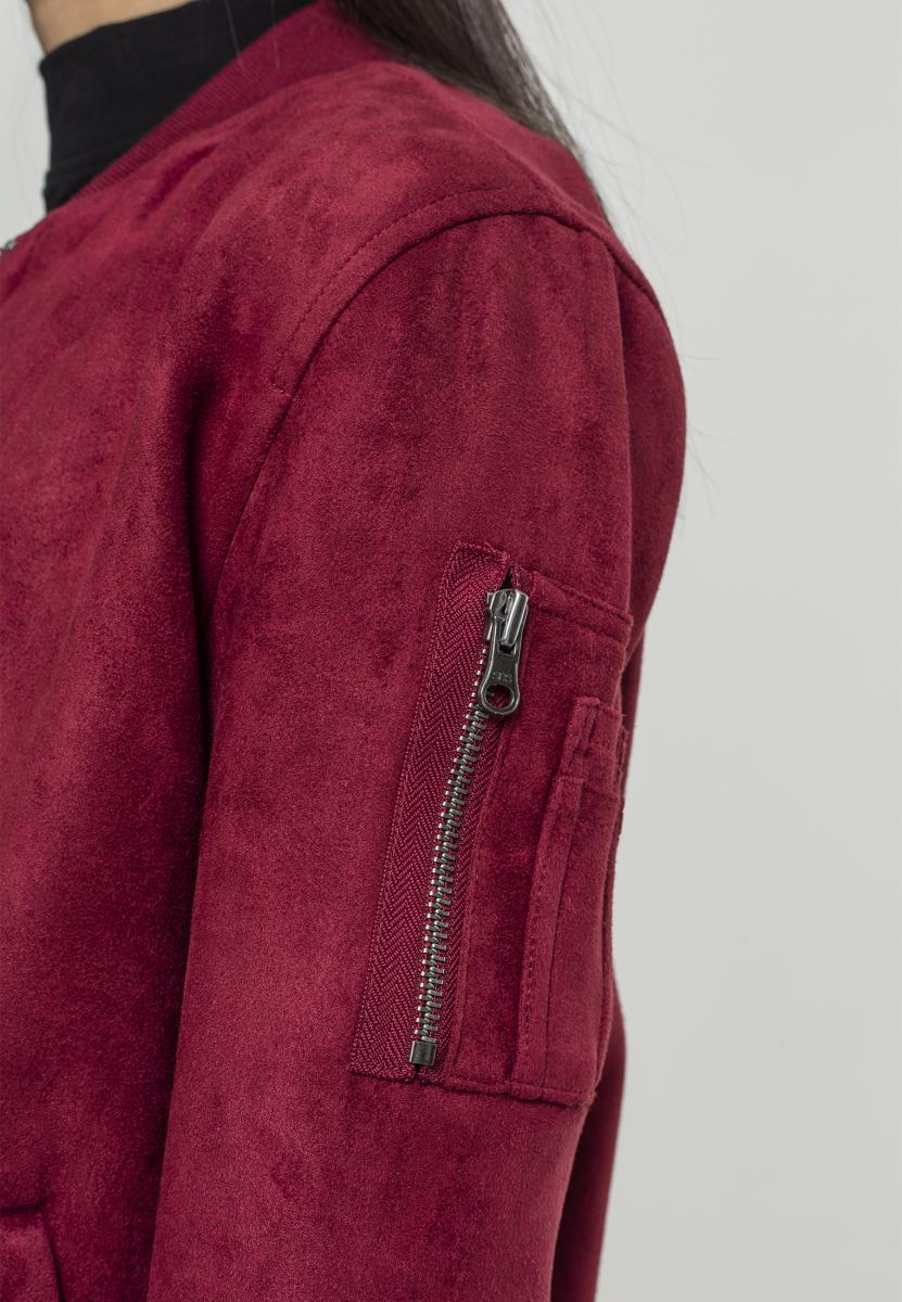 Urban Classics Ladies imitación Suede bombarderos Jacket chaqueta Burgundy tb1358-00606