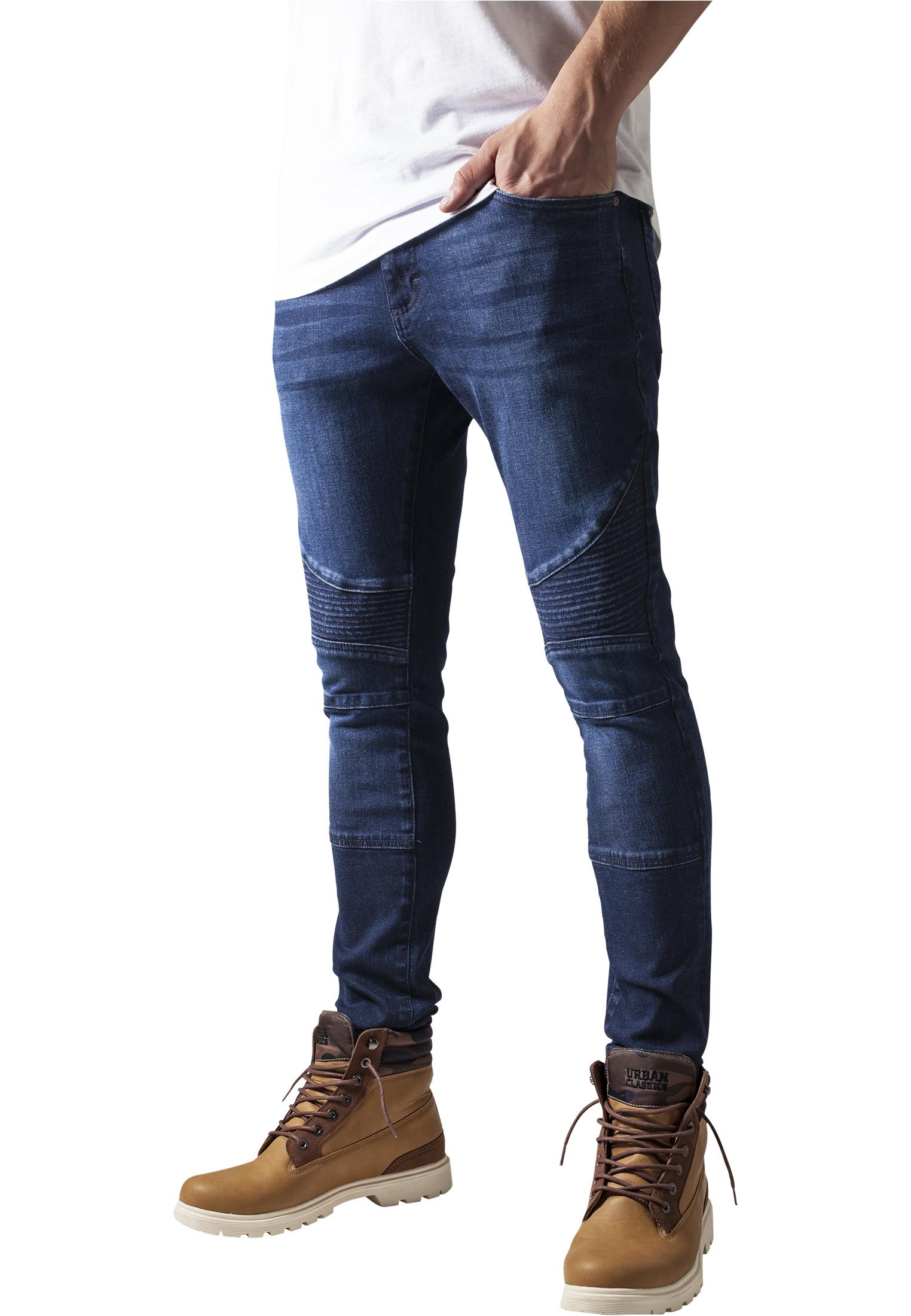 Urban Classics Jeans Biker Jeanshose Slim blue washed