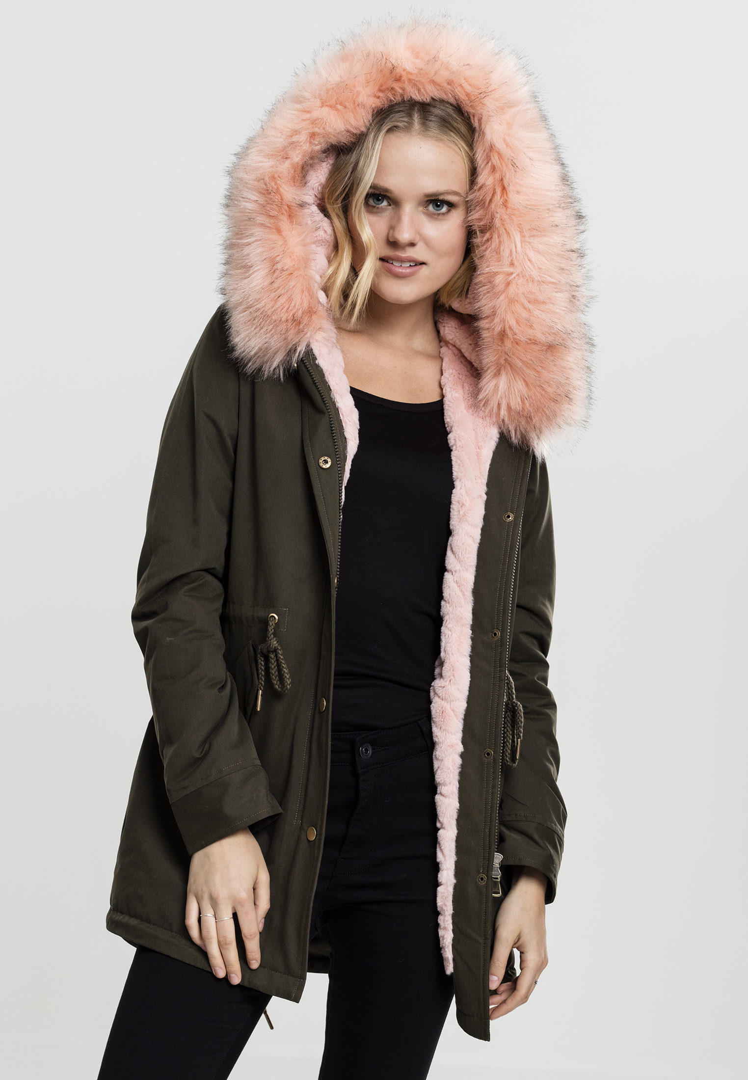 Ladies Peached Teddy Lined Parka TB1763