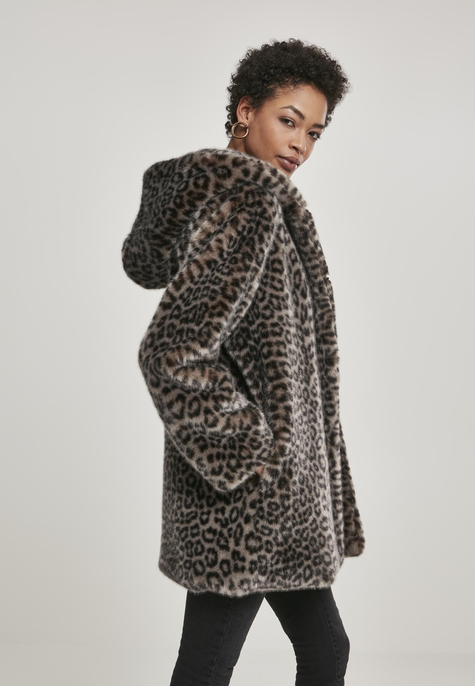 Urban Classics Damen Mantel Ladies Leo Teddy Coat mit Animal-Print