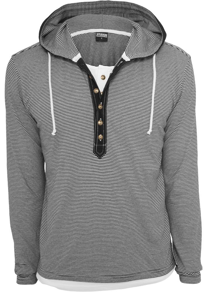 Fine Stripe Button Jersey Hoody TB641