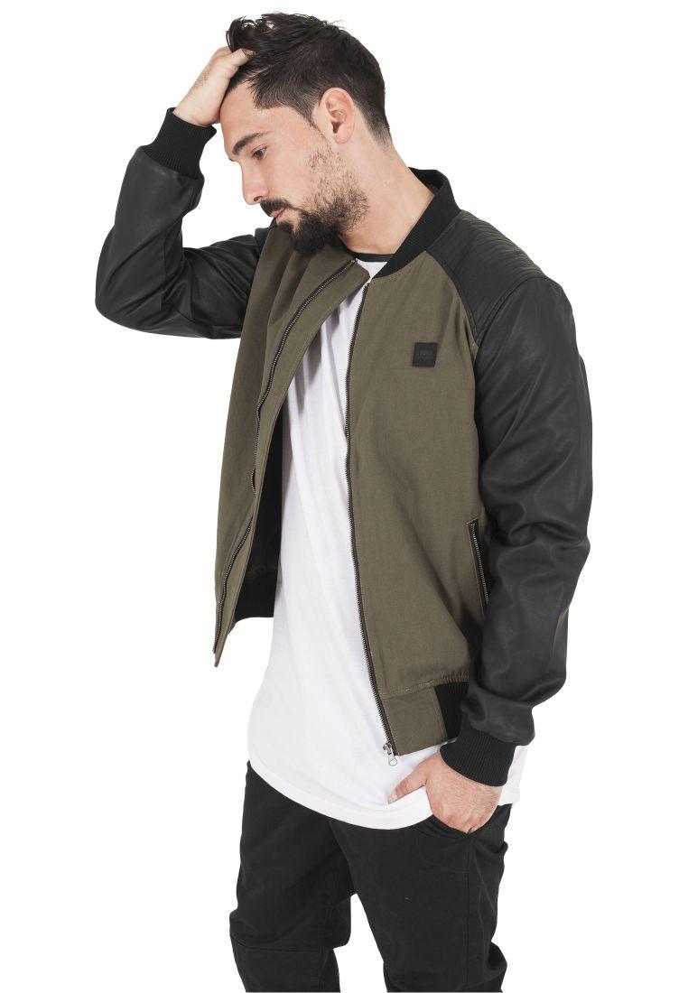 Cotton Bomber Leather Imitation Sleeve Jacket - TAKIT - TTUTB1163 - 1
