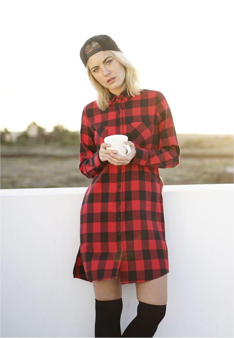 Ladies Checked Flanell Shirt Dress - HAMEET, SHORTSIT, MEKOT - TTUTB1216 - 1