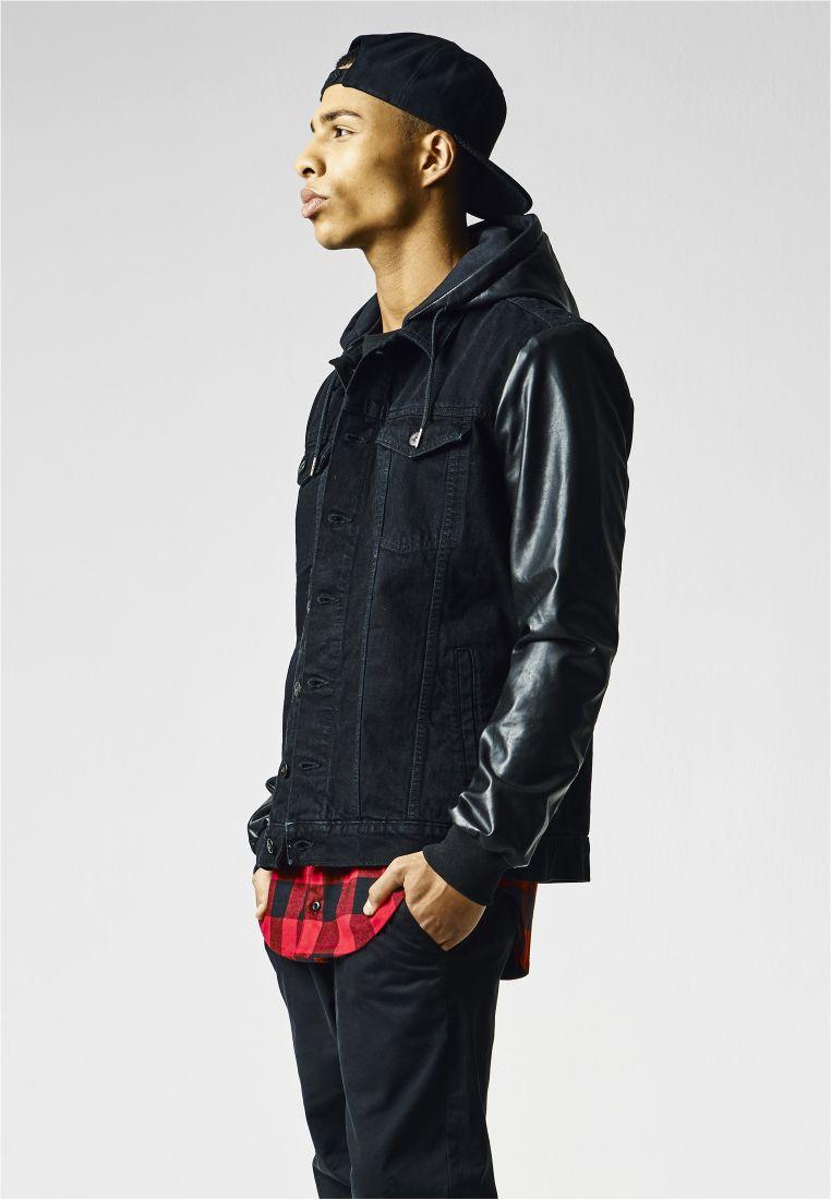Hooded Denim Leather Imitation Jacket - TAKIT - TTUTB1257 - 1