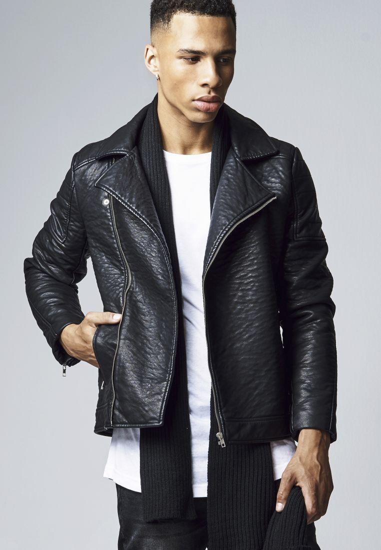 Leather Imitation Biker Jacket - TAKIT - TTUTB1440 - 1