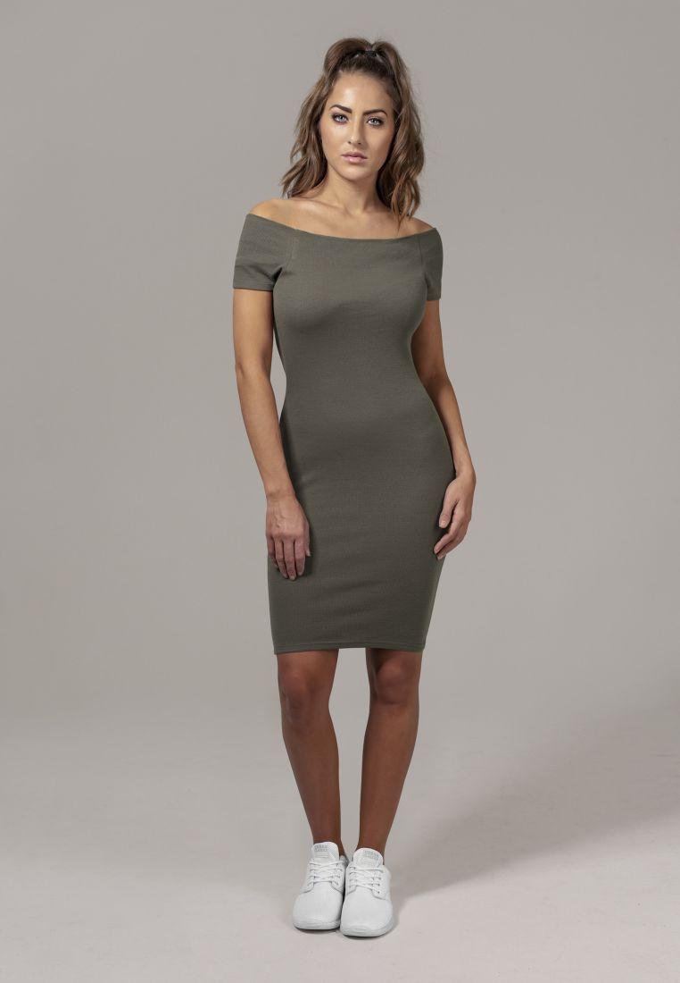 Ladies Off Shoulder Rib Dress - HAMEET, SHORTSIT, MEKOT - TTUTB1501 - 1