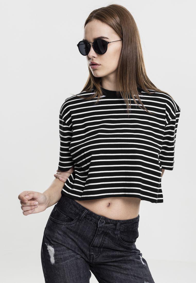 Ladies Short Striped Oversized Tee - T-PAIDAT - TTUTB1506 - 1