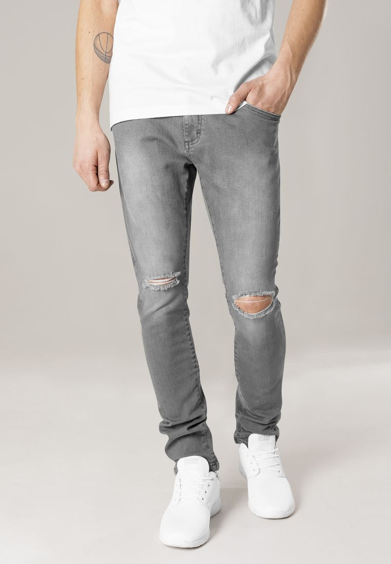 Slim Fit Knee Cut Denim Pants - HOUSUT - TTUTB1652 - 1