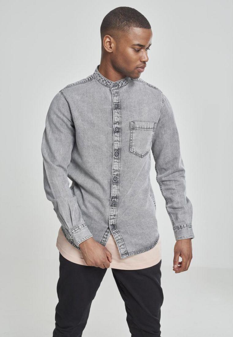 Low Collar Denim Shirt