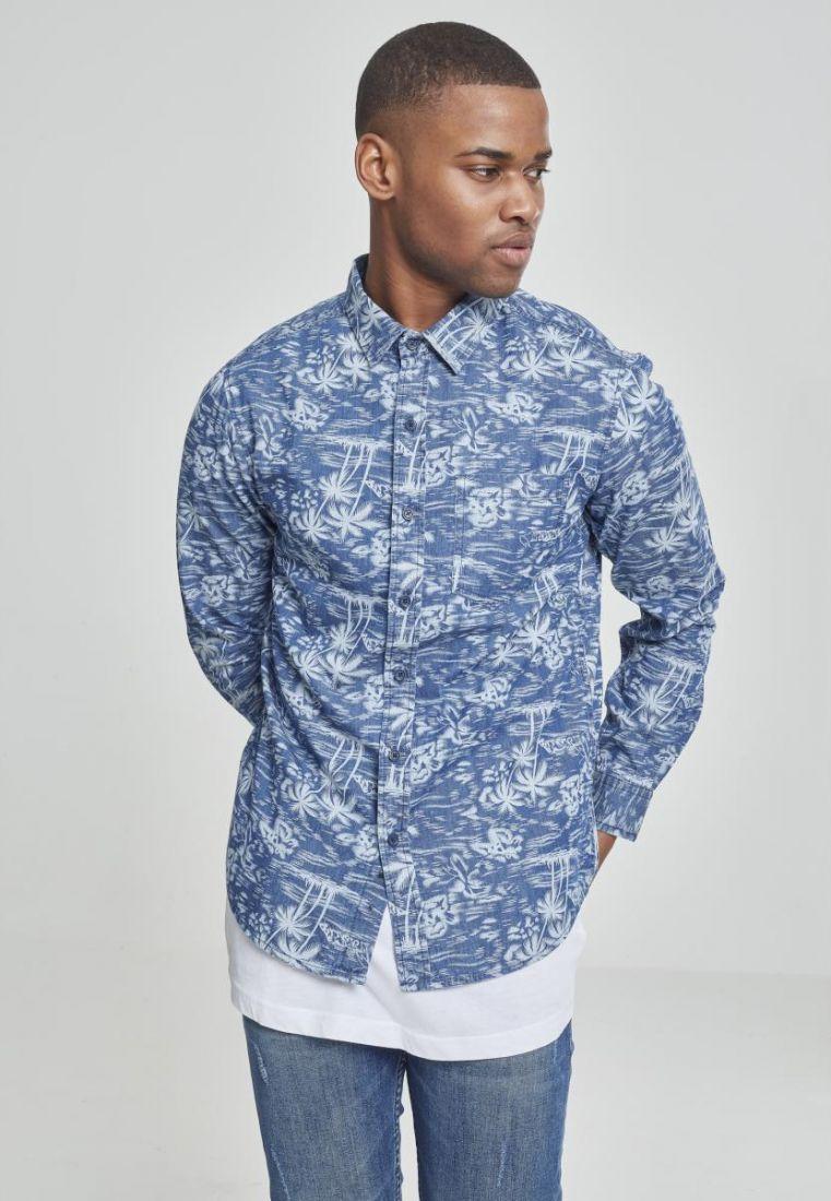 Printed Palm Denim Shirt
