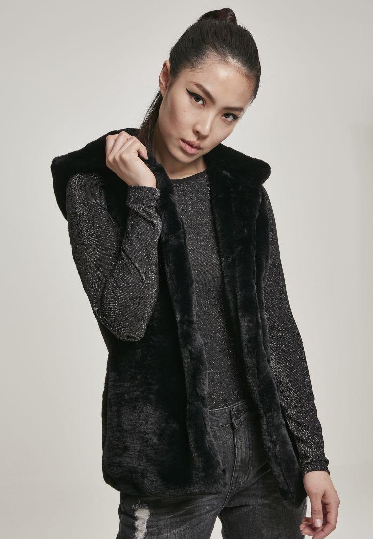 Ladies Hooded Faux Fur Vest