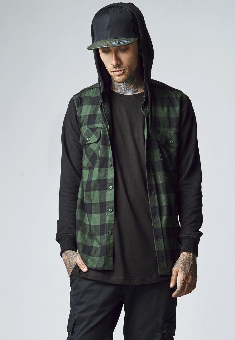 Hooded Checked Flanell Sweat Sleeve Shirt - KAULUSPAIDAT - TTUTB513 - 1