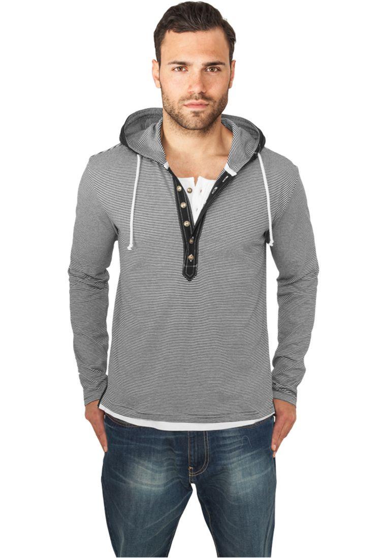Fine Stripe Button Jersey Hoody - HUPPARIT - TTUTB641 - 1