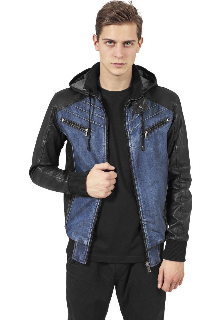 Hooded Denim Leather Jacket - TAKIT - TTUTB675 - 1