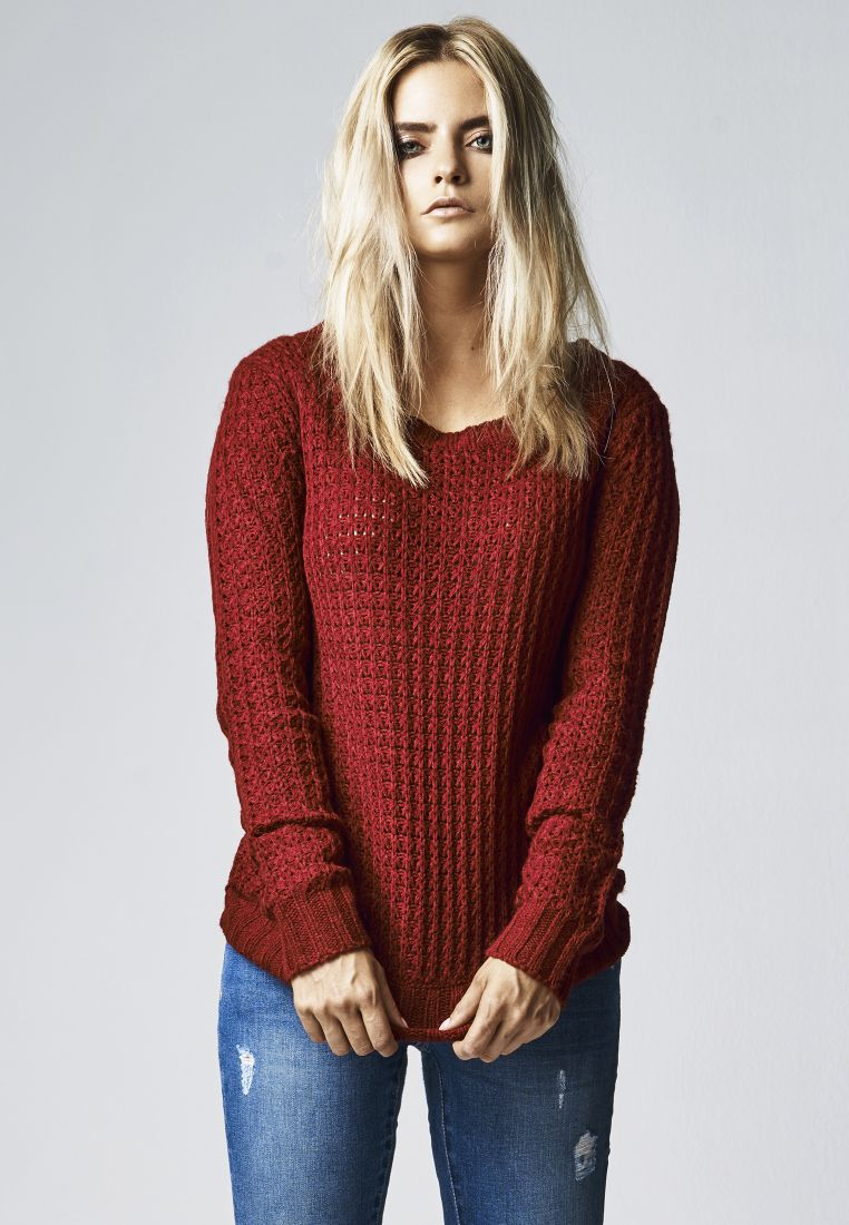 Ladies Long Wideneck Sweater