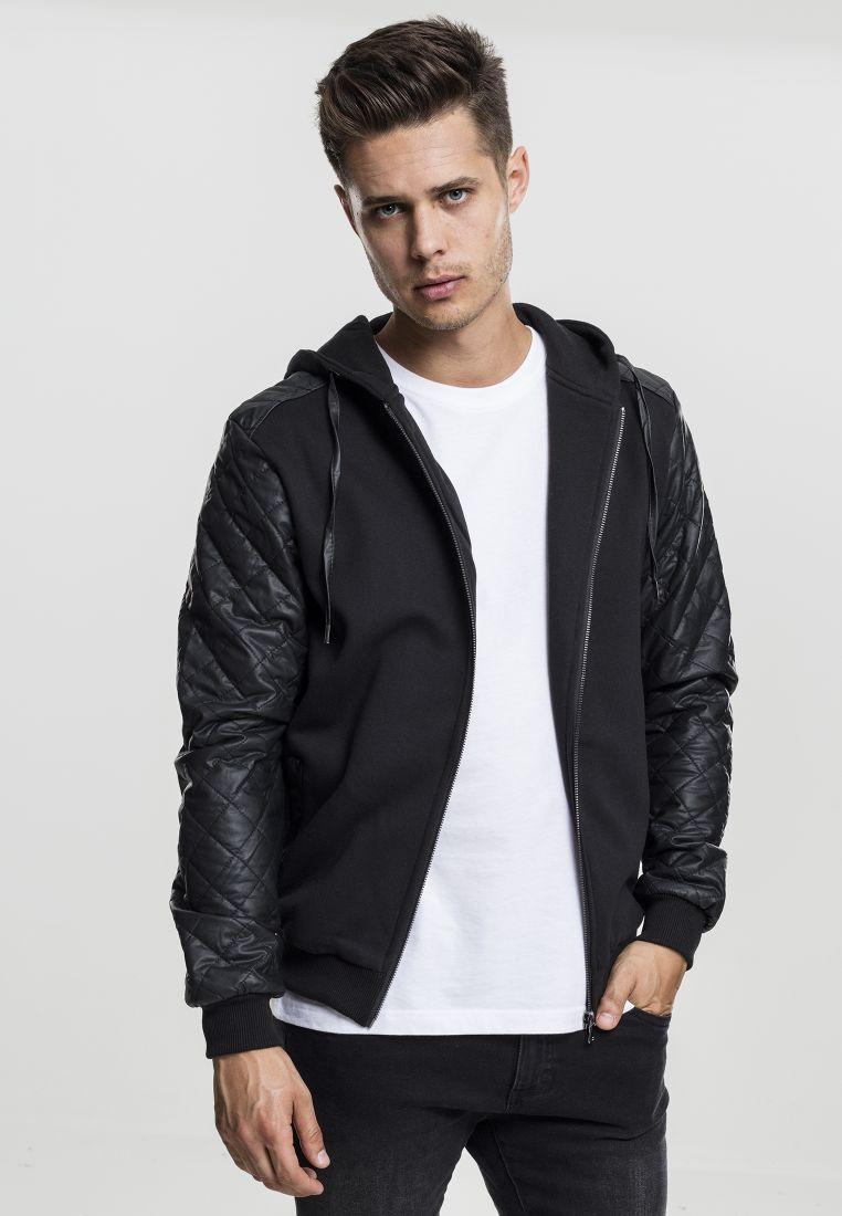 Diamond Leather Imitation Sleeve Zip Hoody - TILAUSTUOTTEET - TTUTB824 - 1
