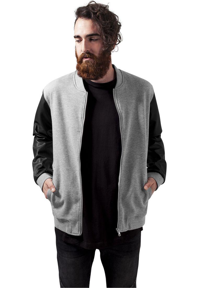 Zipped Leather Imitation Sleeve Jacket