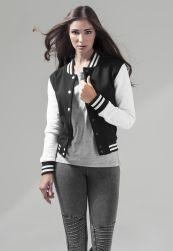 Ladies Sweat College Jacket blk/wht M