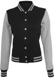 Ladies Sweat College Jacket black/h.grey M