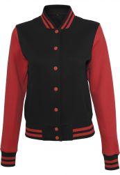 Ladies Sweat College Jacket blk/red M