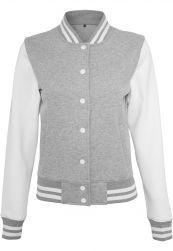 Ladies Sweat College Jacket h.grey/white XS